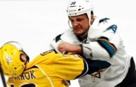 San Jose's Micheal Haley drops Calle Jarnkrok with a huge punch to the face