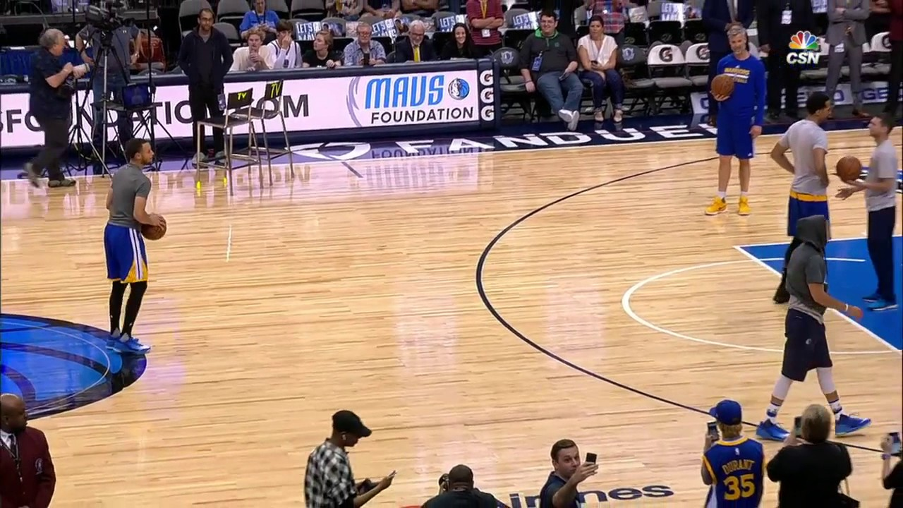 Stephen Curry talks with Seth Curry & proceeds to hit four logo 3-pointers