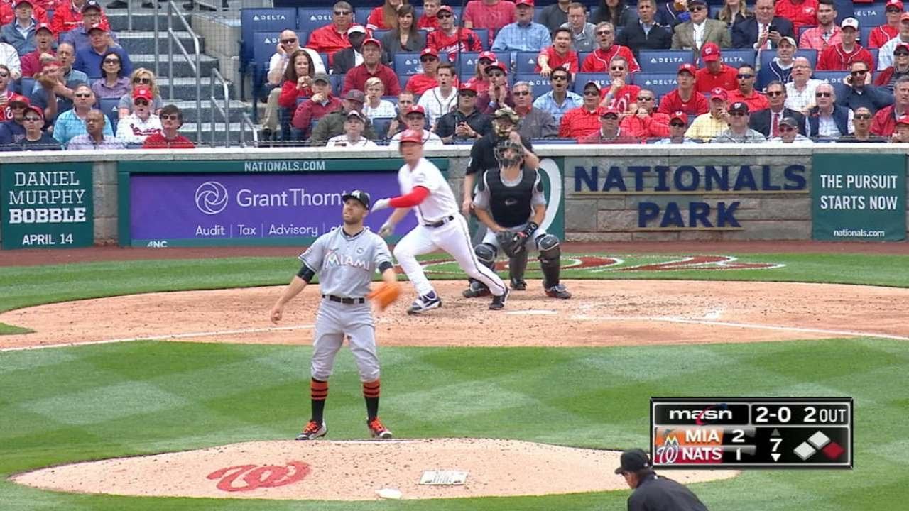 Adam Lind hits a pinch hit homer in his first at bat as a Washington National