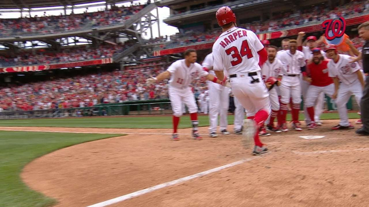 Bryce Harper belts a walk off 3-run homer for the Nationals