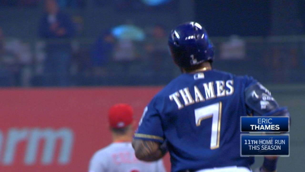 Eric Thames hits his 11th home run & is now on pace for 81 homers