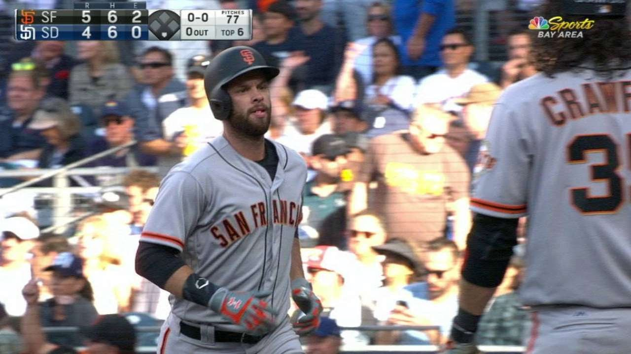 Giants' Brandon Belt smacks a grand slam vs. San Diego