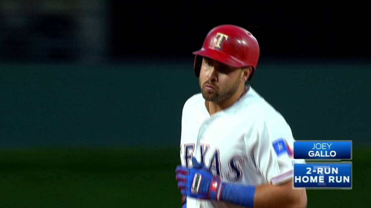 Joey Gallo blasts an upper tank home run for the Rangers