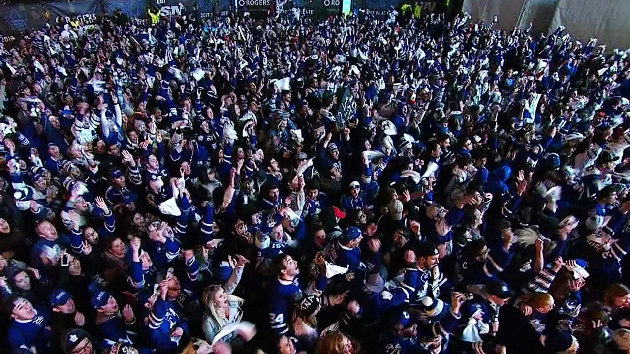 Maple Leaf Square in Toronto reacts to Tyler Bozak's Game 3 OT winner