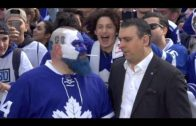 """Maple Leafs fan """"Dart Guy"""" shares cigarette with Sportsnet's Sid at Maple Leaf Square"""