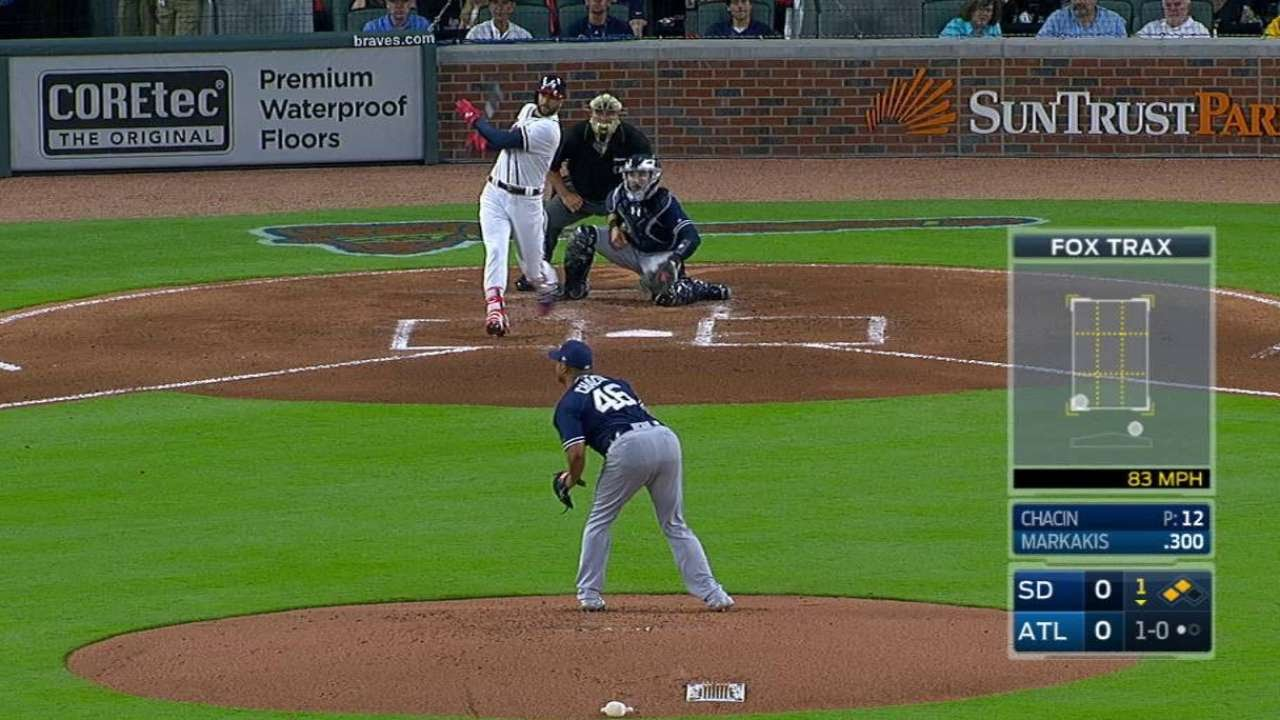 Nick Markakis drives in the first run at the Atlanta Braves new stadium