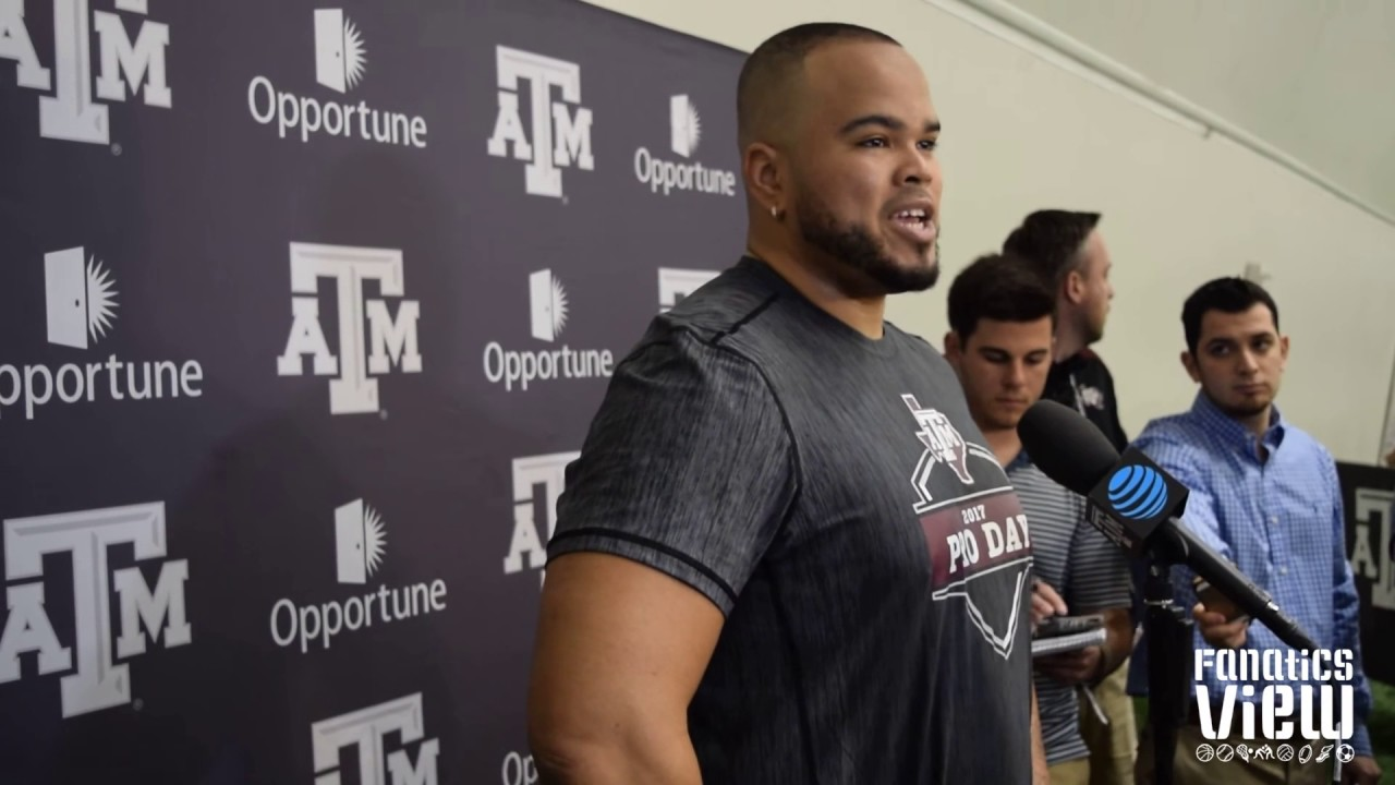 Texas A&M guard Jermaine Eluemunor on blocking Myles Garrett & NFL team visits