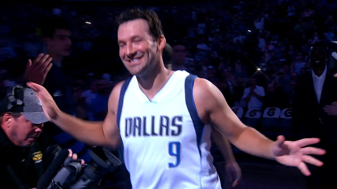 Tony Romo introduced as part of the Dallas Mavericks vs. Denver