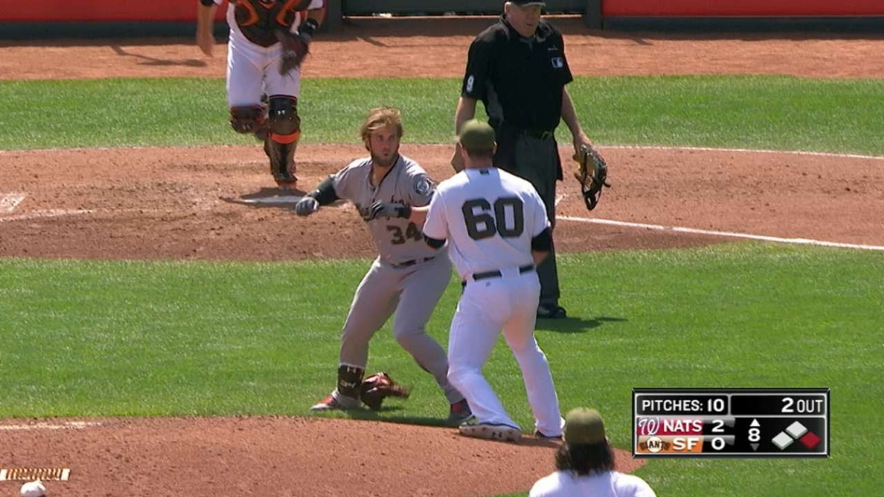 Bryce Harper & Hunter Strickland square off in bench clearing brawl