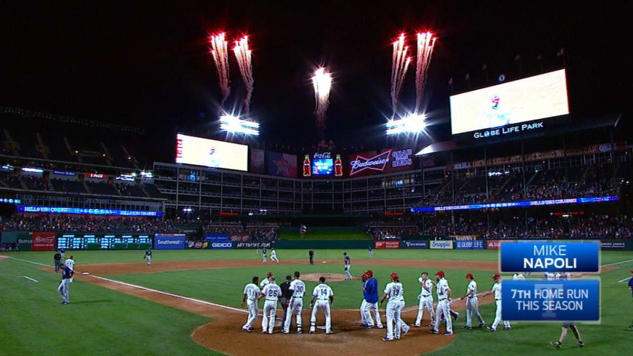 Mike Napoli mashes a walk-off three-run homer in the upper tank