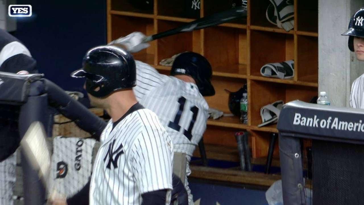 Yankees outfielder Brett Gardner destroys a recycling bin with his bat