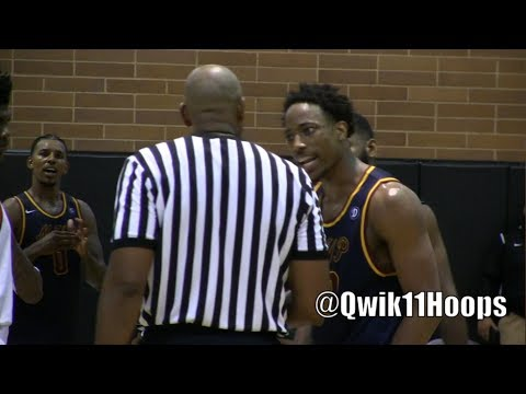 DeMar DeRozan throws a ball at a ref at the Drew League in Los Angeles
