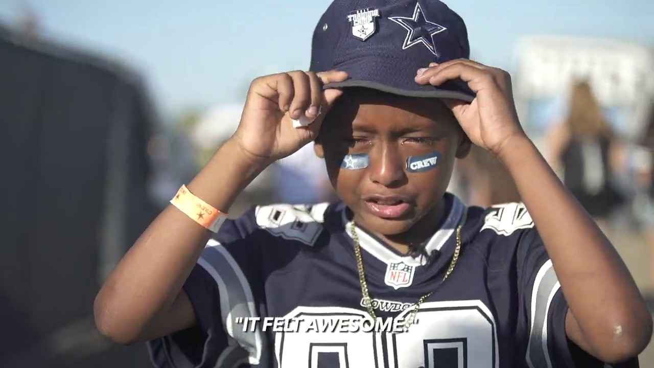 Dez Bryant brings a young Cowboys fan to tears & plays catch with him on his birthday