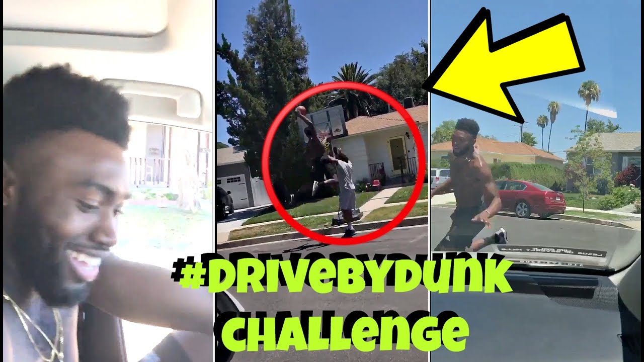 NBA players Jaylen Brown & Anthony Davis do the #DriveByDunkChallenge