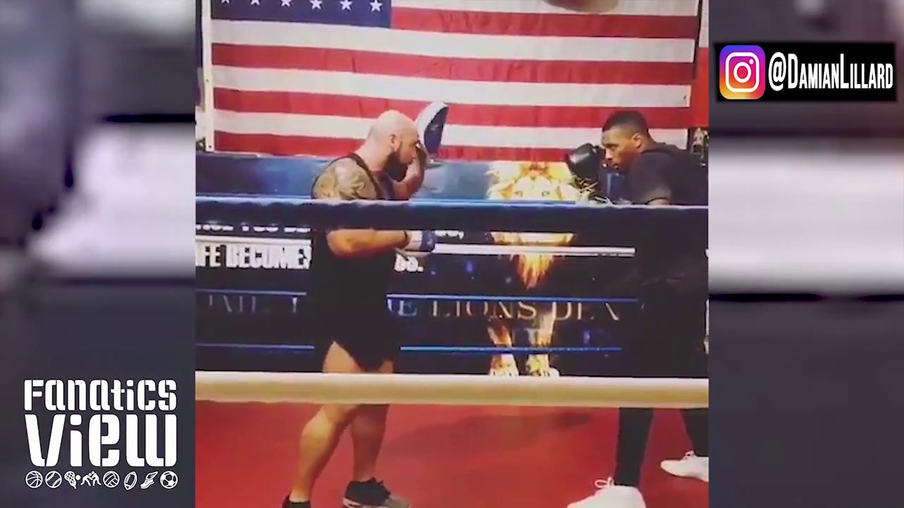 Damian Lillard with some solid punches during boxing training