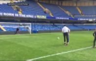 Steph Curry knocks back penalty kick at Stamford Bridge