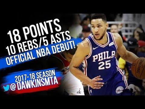 Ben Simmons drops 18 Pts, 10 Rebs, & 5 Assists in his NBA debut