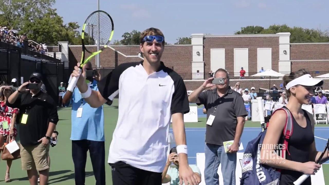 Dirk Nowitzki, Mike Modano, JJ Barea & Owen Wilson play tennis in Dallas