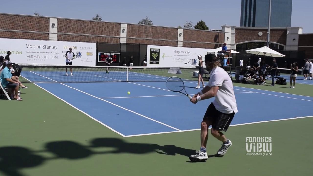 Dirk Nowitzki vs. Owen Wilson tennis match in Dallas