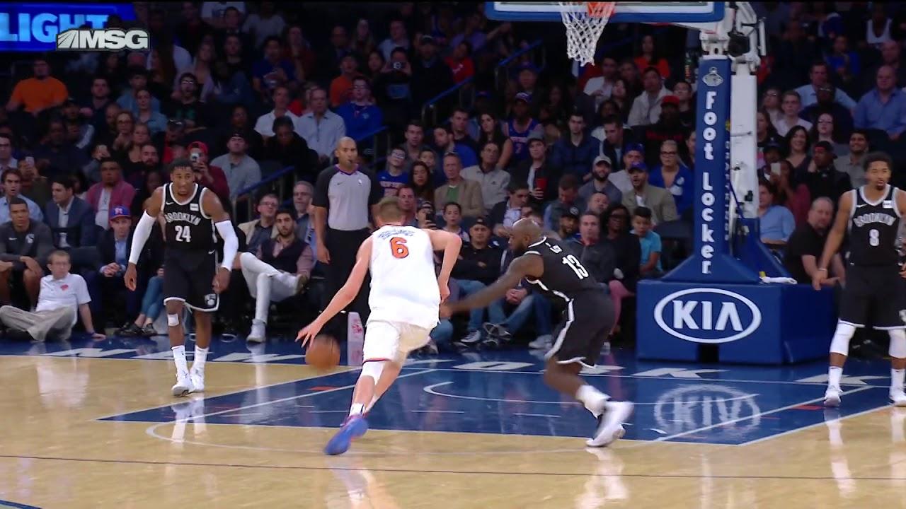 Kristaps Porzingis shows off his handles in Knicks pre-season tilt