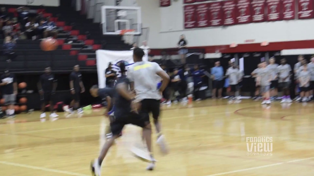 Myles Turner throws down a ferocious dunk at his camp in Euless