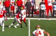 Ohio State Buckeye's Denzel Ward flattens Maryland wide receiver