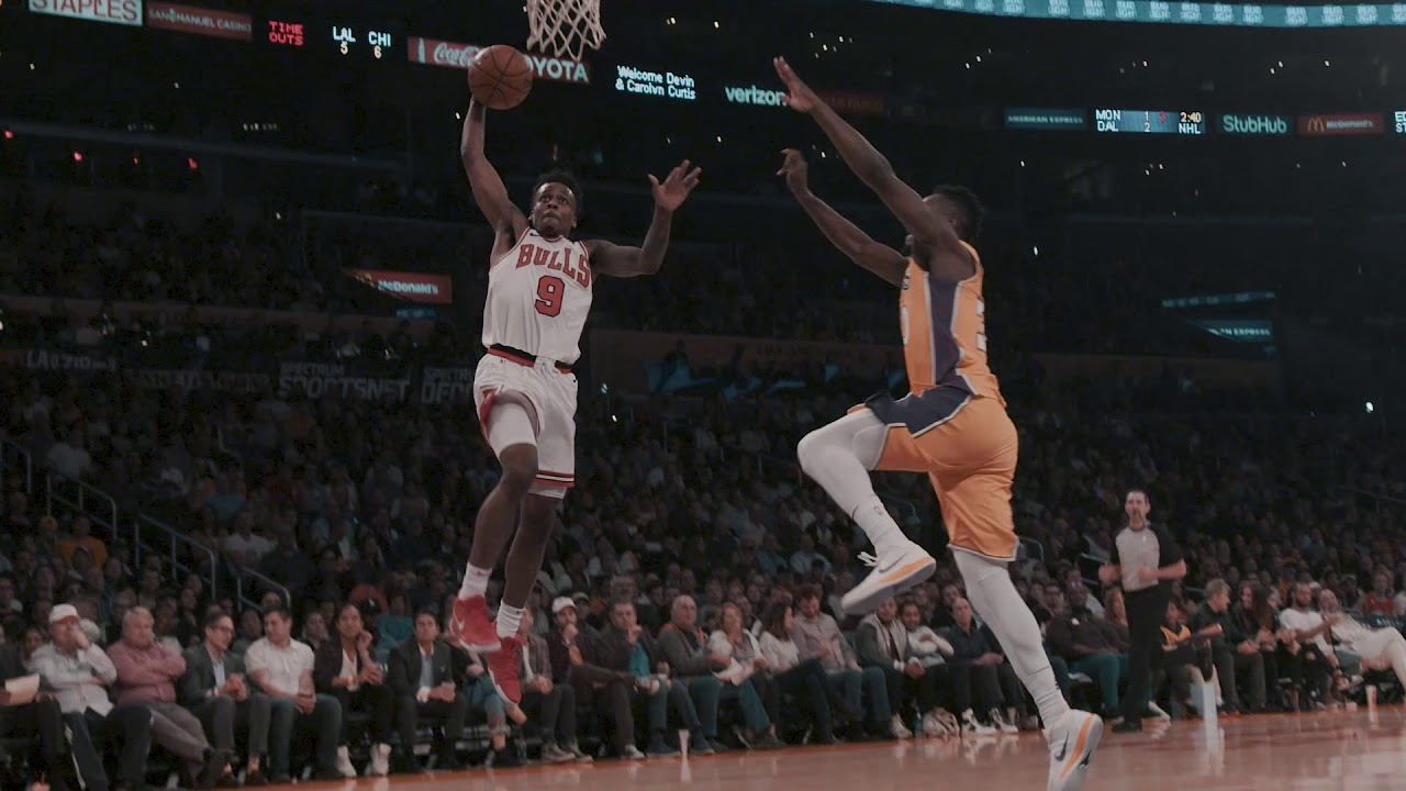 Antonio Blakeney spikes the fast-break dunk