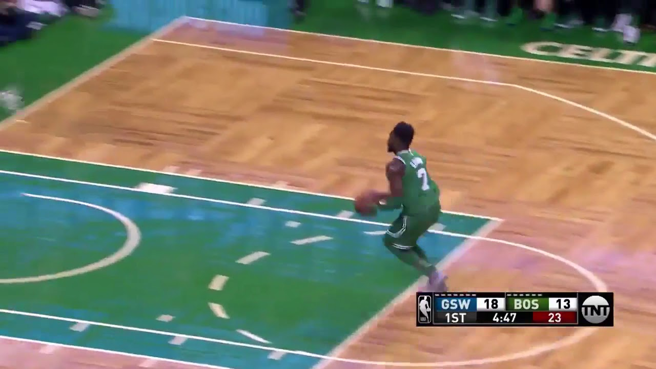 Jaylen Brown rips Steph Curry and slams it home