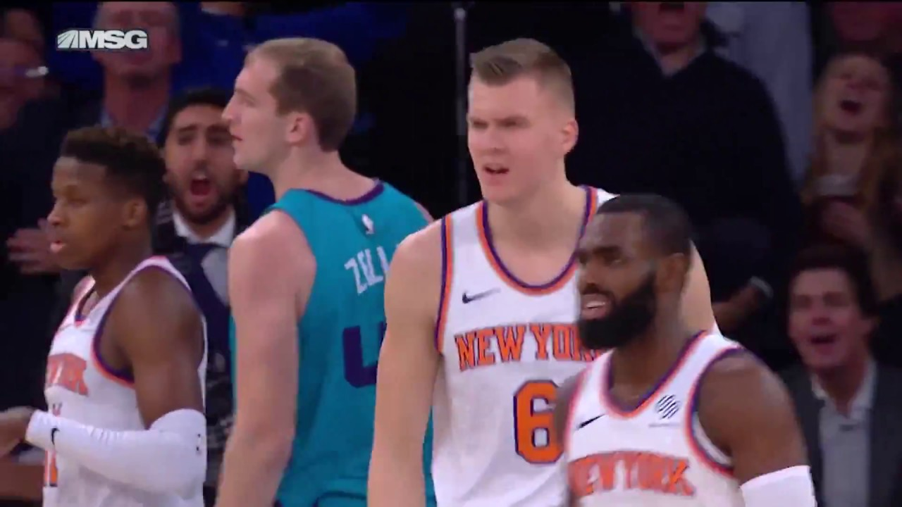 Kristaps Porzingis invites Cody Zeller to his own private block party