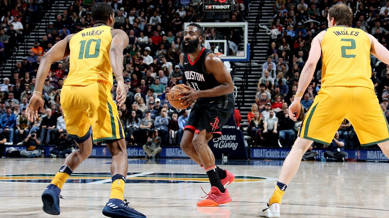 James Harden and Donovan Mitchell trade baskets in Utah