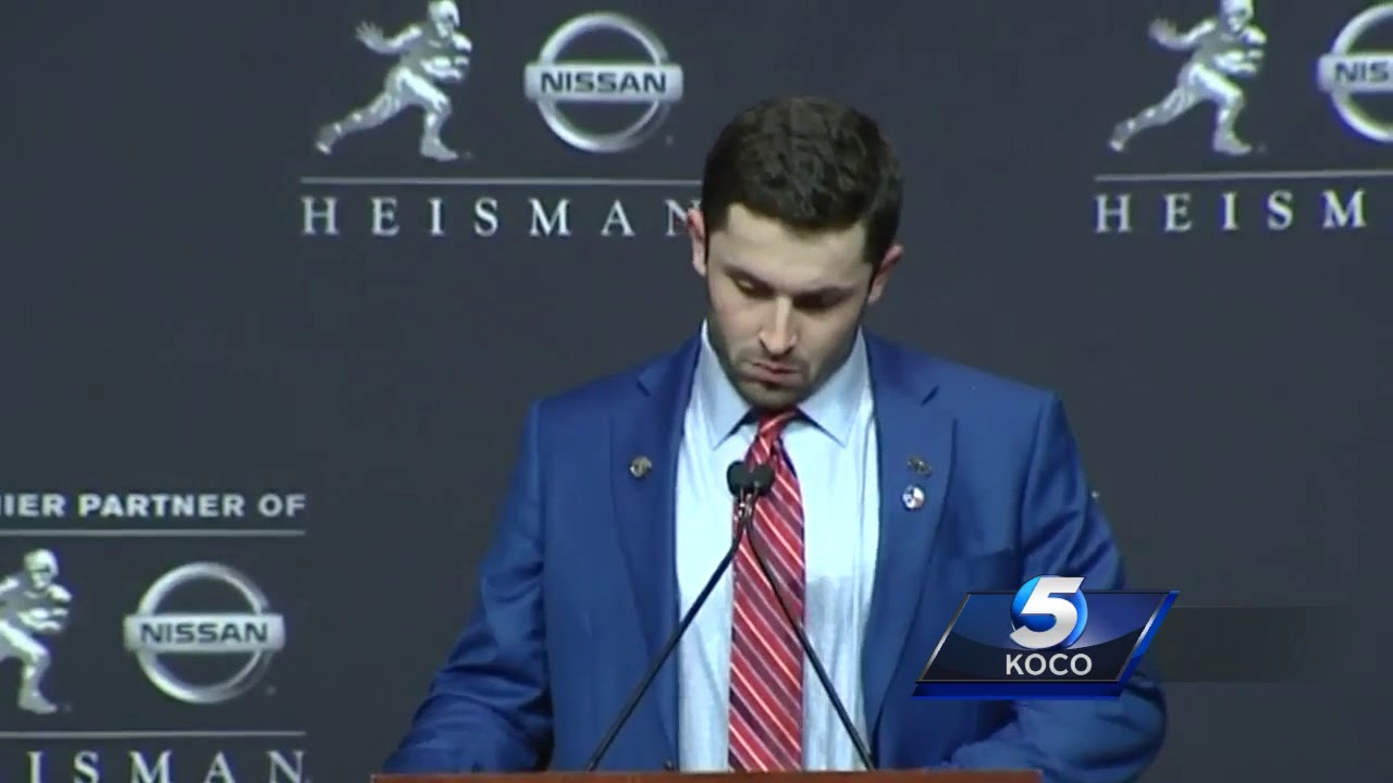 Oklahoma's Baker Mayfield answers questions after winning the Heisman Trophy