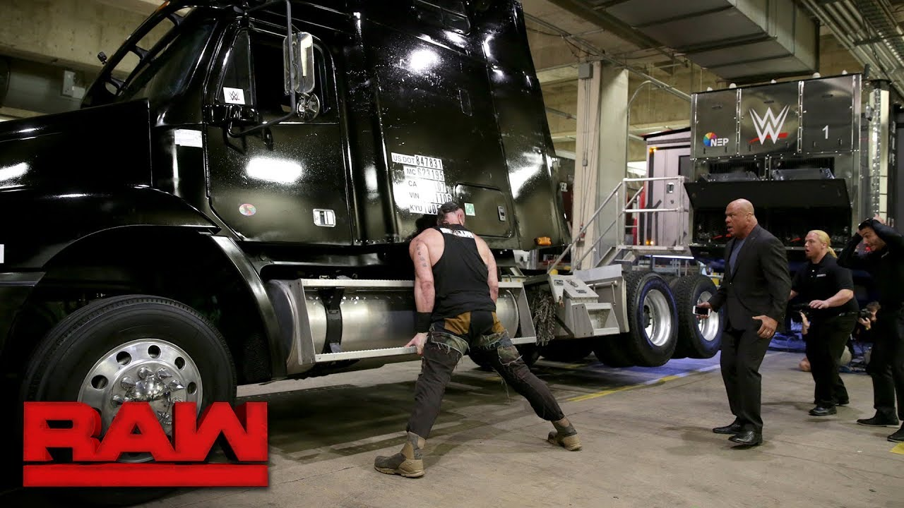 Braun Strowman tips over a semi-truck on Raw after being fired by Kurt Angle
