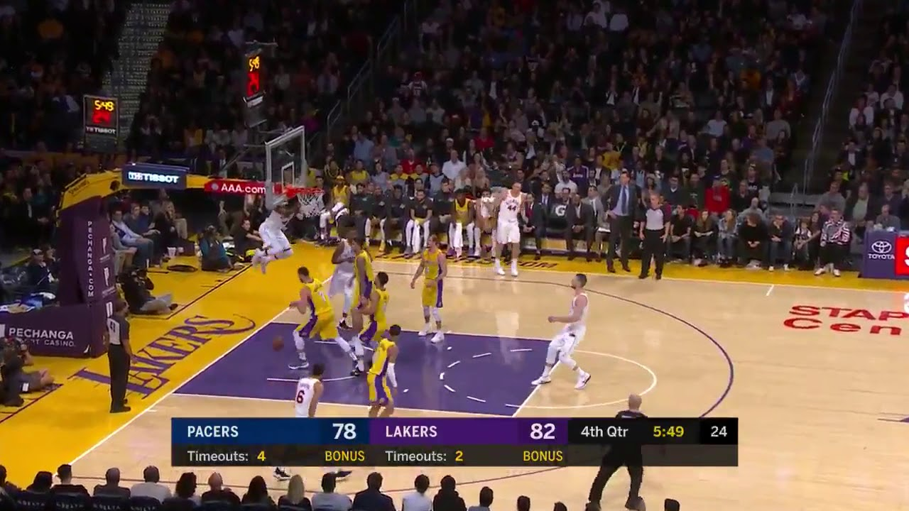 Oladipo spins his way to the hoop for the authoritative slam