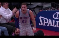 Blake Griffin gets amped up after stuffing former teammate Montrezl Harrell at the rim