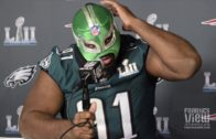 Fletcher Cox does interview in Lucha Libre wrestling mask