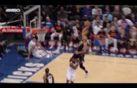 Giannis Antetokounmpo hurdles defender for sick alley-oop jam