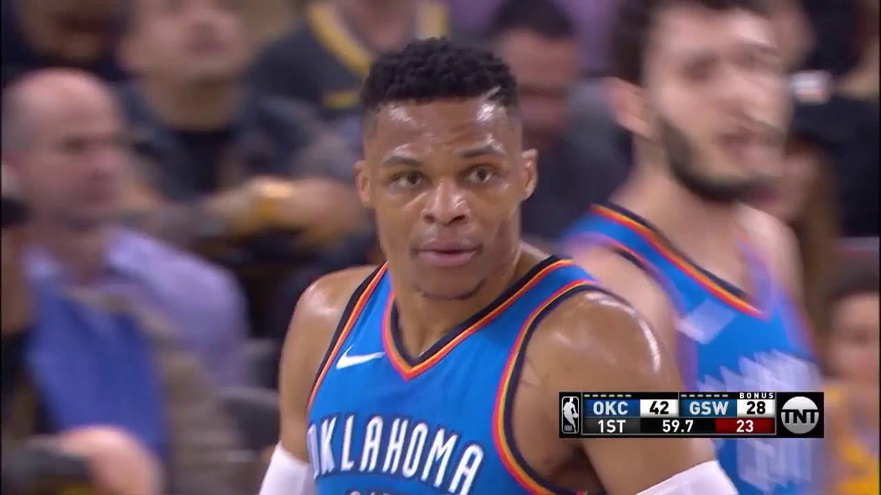 Russell Westbrook and Paul George too much for Warriors in Oracle Arena blowout