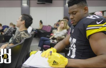 Steelers wideout JuJu Smith-Schuster goes back to class in full pads