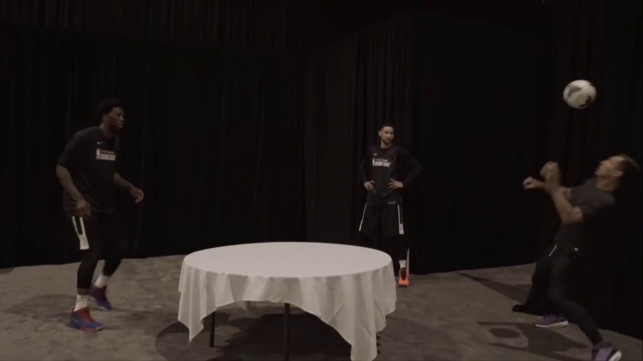 Joel Embiid and Steve Nash go head to head in table soccer