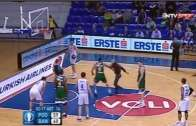 Fan decked after attacking players in Euro Cup basketball game!