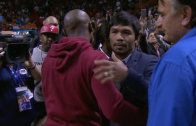 Floyd Mayweather & Manny Pacquiao meet for the first time at Miami Heat game
