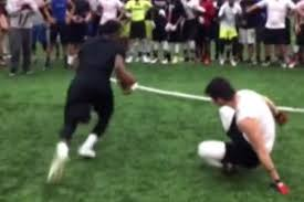 Serious moves: High school football prospect Karon Keyes with a juke and spin