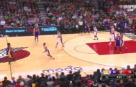 Nick Young hits a 40 footer after loosing his dribble