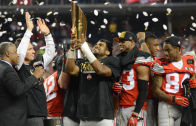 Ohio State Buckeyes celebrate winning the National Championship vs. Oregon