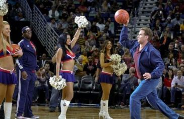 Will Ferell hits New Orleans Pelicans cheerleader in the face with basketball