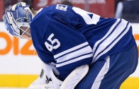 SMH: Toronto Maple Leafs Jonathan Bernier lets in goal from opposing blue line