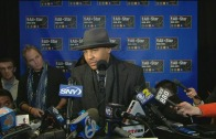 Carmelo Anthony speaks to the media for NBA All-Star Weekend