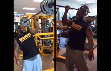 James Harrison does one handed 135 LB barbell shoulder press