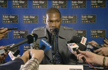 Kevin Durant speaks to the media for NBA All-Star Weekend