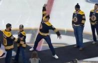 Rob Gronkowski spikes puck at Boston Bruins game!